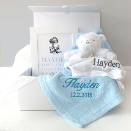 Personalised Blue Blanket, Comforter, Art Baby Hamper
